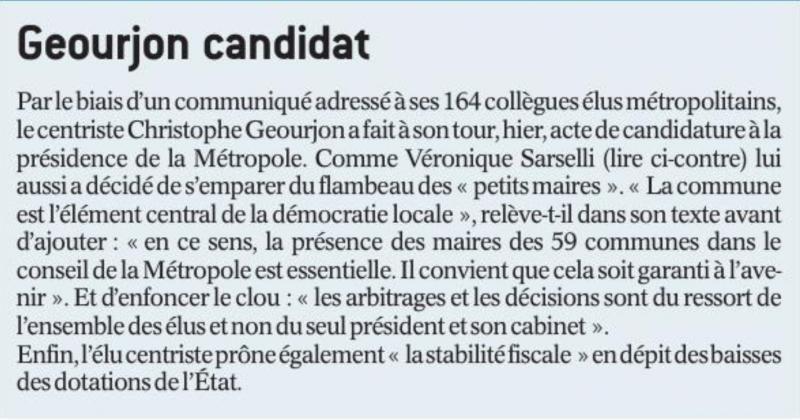 [Presse] Le Progrès – Geourjon Candidat