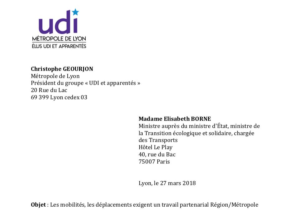 Lettre à Madame la Ministre des transports : Les mobilités, les déplacements exigent un travail partenarial Région/Métropole
